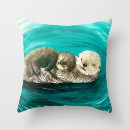 Cuddling Mama and Baby Sea Otters Throw Pillow