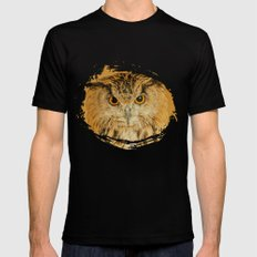 OWL RIGHT ON THE NIGHT MEDIUM Mens Fitted Tee Black