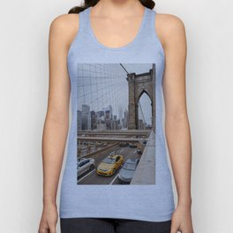 View on the manhatten from the Brooklyn Bridge in New York City, USA   New York City yellow caps driving   Travel photography   NY building architecture photo Art Print  Unisex Tank Top