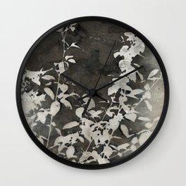 Charcoal Flowers Wall Clock