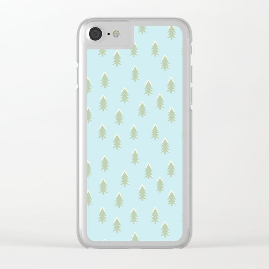 Merry christmas- With snow covered x-mas trees pattern on aqua backround Clear iPhone Case