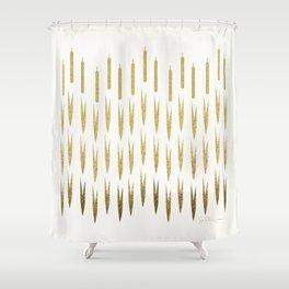 Gold Cattails Shower Curtain