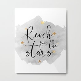 REACH FOR The STARS, Stars Gift,Stars And The Moon,Kids Room Decor,Watercolor Print,Gold Star Metal Print