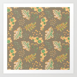 Yellow Oak Leaves Autumn Pattern, Crayon Drawing Art Print