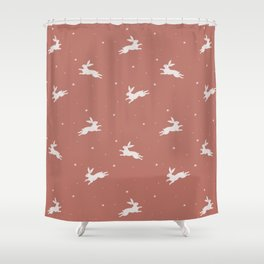Rabbits In The Red Sky Shower Curtain