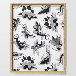 Geometric Dinos // non directional design white background grey dinosaurs shadows Serving Tray