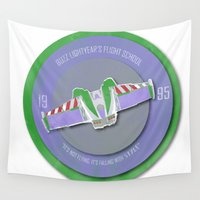 pixar Wall Tapestries featuring pixar disney toy story. buzz lightyear flight school  by studiomarshallarts