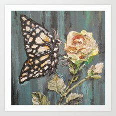 Butterfly on Rose Art Print