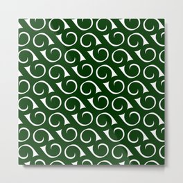 Swirls Forest Green and White Metal Print