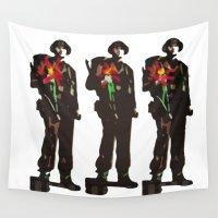 guns Wall Tapestries featuring Flowers Not Guns by Retro Rana Vintage/Backto89/Mutant Desig