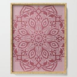 Elegant dusty rose pink mandala Serving Tray