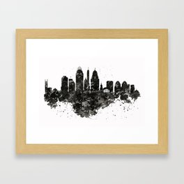 Cincinnati Skyline Black and White Framed Art Print