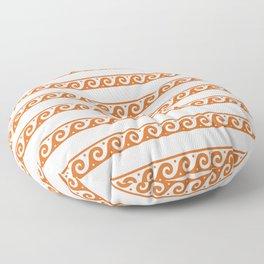 Orange Greek wave pattern Floor Pillow
