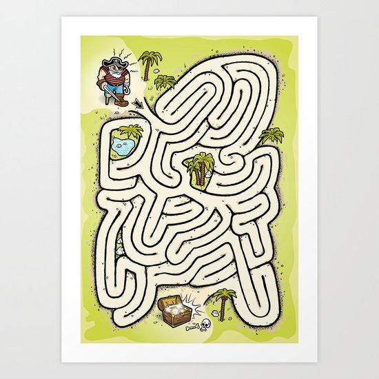 Pirate Treasure Maze Art Print