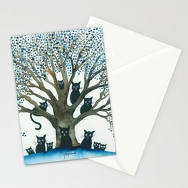 Lombardy Whimsical Cats in Tree Stationery Cards