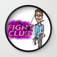 brad pitt Wall Clocks featuring Edward Norton and Brad Pitt as Tyler Durden in...  The Fight Club Cartoon!  by beetoons