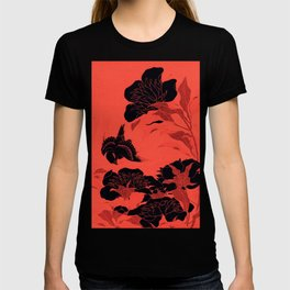 Japanese Flowers Coral Red & Black T-shirt