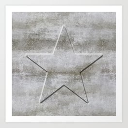 Solid Star in grey conrete Art Print