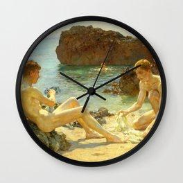 Sun Bathers by Henry Scott Tuke Wall Clock