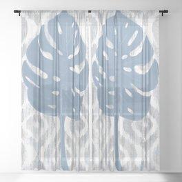Indigo Ikat Tropical Monstera Sheer Curtain