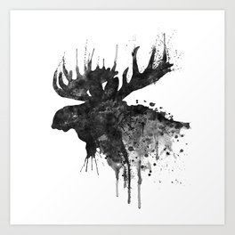 Black and White Moose Head Watercolor Silhouette Art Print
