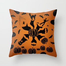 Zombie Black Cat Bat Spider Ghost Pumpkin Throw Pillow