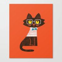 preppy Canvas Prints featuring Fitz - Preppy cat by Picomodi