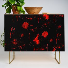 Red Paint / Blood splatter on black Credenza