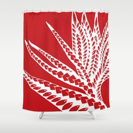Red Polynesian Geometric Floral Chic Tribal Tattoo Shower Curtain
