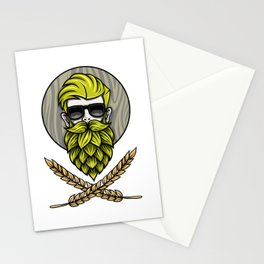 Green Hops Beard - Beer Style - Hops Fashion Stationery Cards