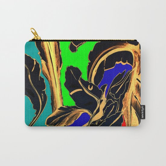 Blue Green Orange Black and Gold, Stand Up Red Carry-All Pouch