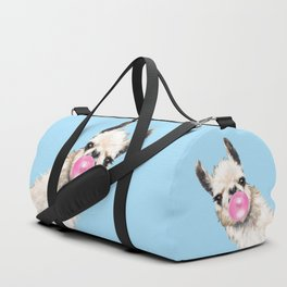 Bubble Gum Sneaky Llama in Blue Duffle Bag