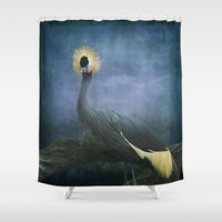 crane Shower Curtains featuring Crowned Crane by TaLins