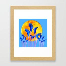 GOLDEN FULL MOON BLUE CALLA LILIES BLUE ART Framed Art Print