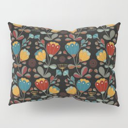 Vintage Ethno Flowers in red, blue, yellow on black Pillow Sham