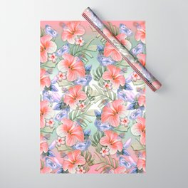 Hibiscus Aloha Stripe Wrapping Paper