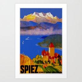 Vintage Spiez Switzerland Travel Poster Art Print