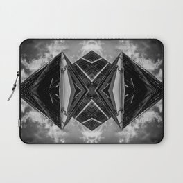 Alien Mothership and Cloudscape in Black and White Laptop Sleeve