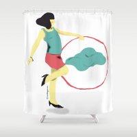 dream catcher Shower Curtains featuring DREAM-CATCHER by aurelie garnier