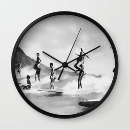 Vintage Surfing in Hawaii Wall Clock