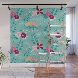 Exotic Flower Pattern Wall Mural
