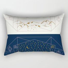 Day and Night Landscapes Rectangular Pillow