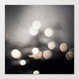 Black and White Bokeh Lights Photography, Sparkle Light Art, Neutral Sparkly Photo Canvas Print