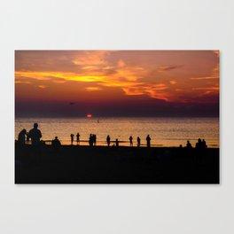 Sunset at the Scheveningen Beach in The Hague, Netherlands Canvas Print