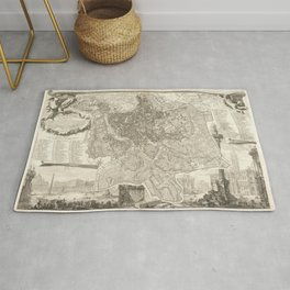 Vintage Map Print - 1748 map of Rome Rug