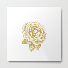 Vintage Rose Bloom Engraving in Mustard Yellow and White . Floral Minimalism Metal Print