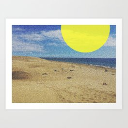 Beach with yellow sun Art Print