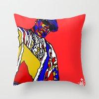 biggie Throw Pillows featuring BIGGIE by Fake Wealth
