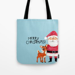 Vintage Blue Santa Claus & Rudolph the Red Nosed Reindeer Tote Bag