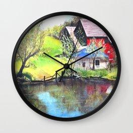 Red Barn On Lake Wall Clock